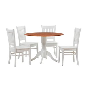 Reider 5 Piece Drop Leaf Solid Wood Dining Set