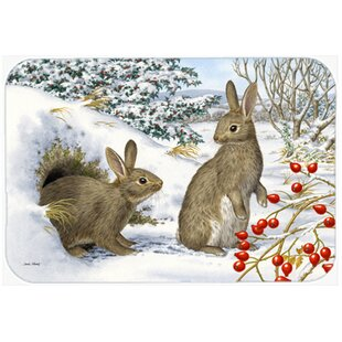 Winter Rabbits Glass Cutting Board