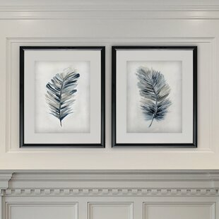 U0027Soft Feathersu0027 2 Piece Framed Acrylic Painting Print Set
