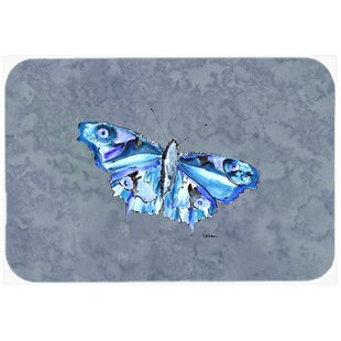 Butterfly On Gray Kitchen/Bath Mat