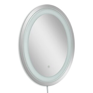 Reviews Frosted Oval LED Bathroom/Vanity Wall Mirror By Symple Stuff