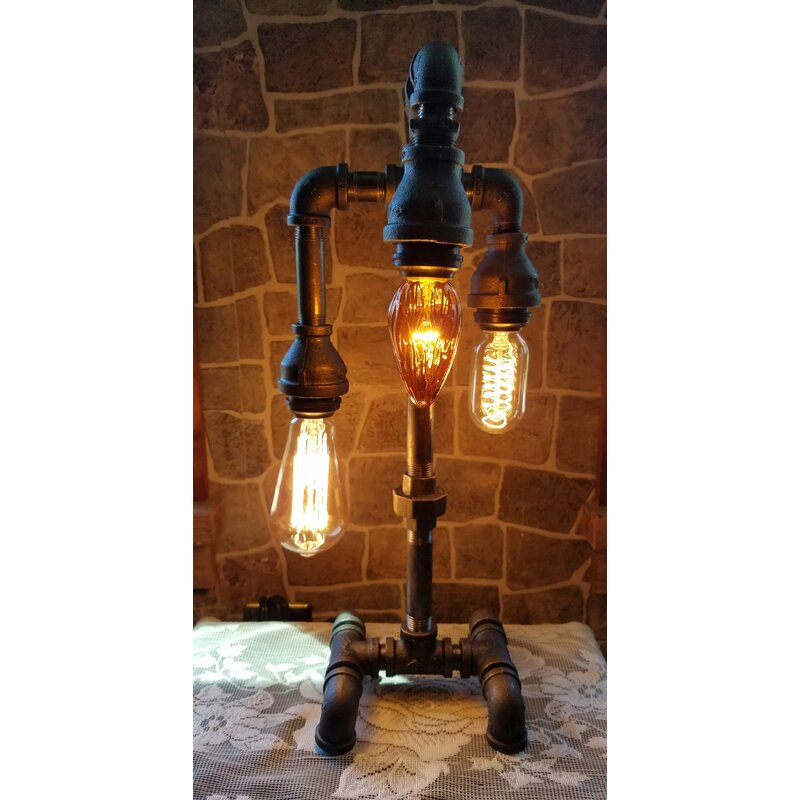 "Hayhurst Industrial 3 Tier 18"" Arched Table Lamp"