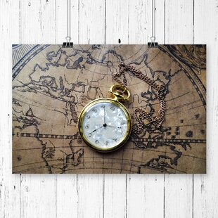 Vintage map wayfair vintage pocket watch and world map photographic print gumiabroncs Gallery