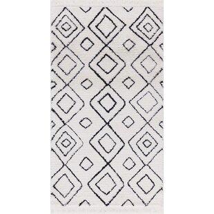 Hervey White/Charcoal Area Rug byBloomsbury Market