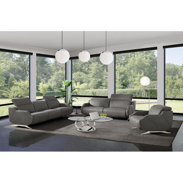 Orren Ellis Berlinville 3 Piece Leather Reclining Living Room Set Wayfair