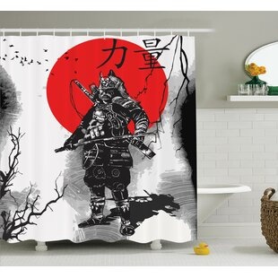 Japanese Portrait of A Warrior Shower Curtain + Hooks