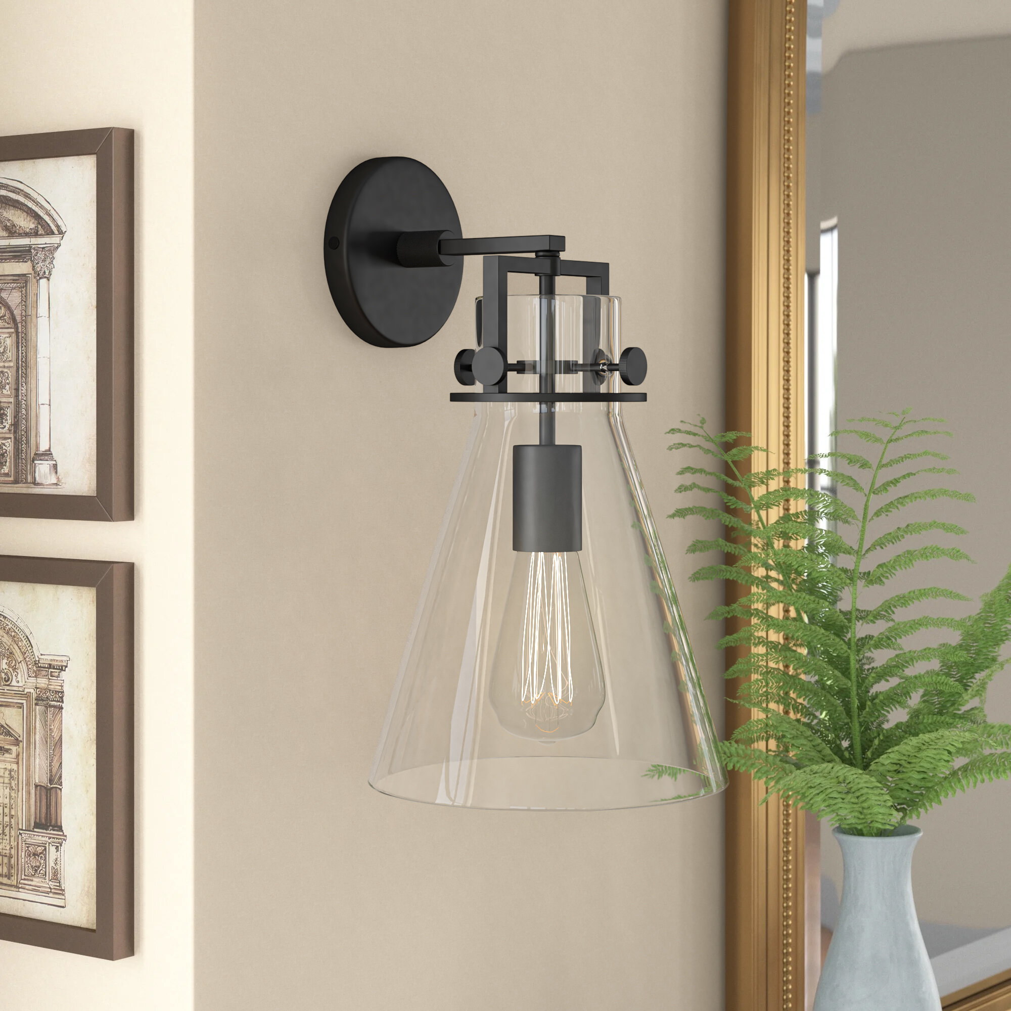 Three Posts Chesterland 1 Light Dimmable Armed Sconce Reviews Wayfair