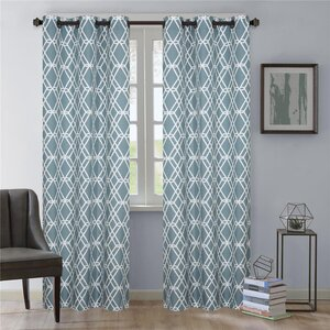 Magnus Geometric Grommet Curtain Panels (Set of 2)
