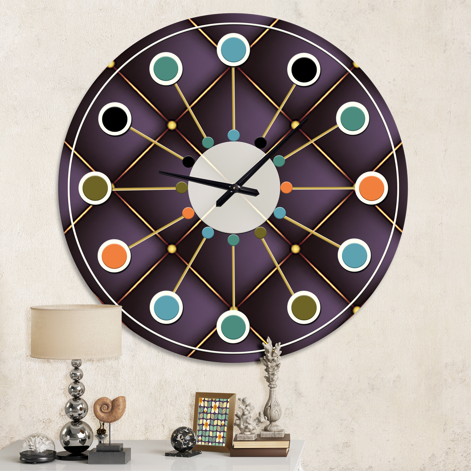 East Urban Home Oversized Quilted Mid Century Wall Clock Wayfair