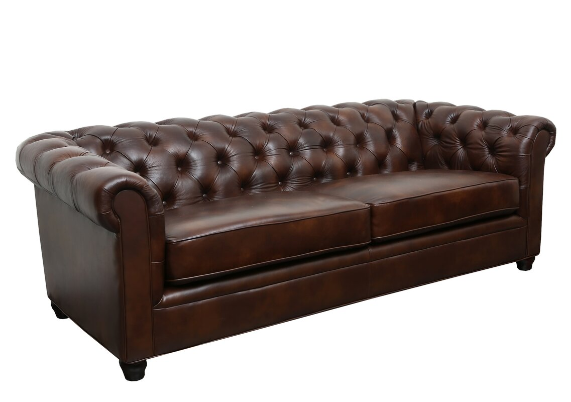 trent austin design harlem leather chesterfield sofa reviews wayfair. Black Bedroom Furniture Sets. Home Design Ideas
