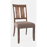 Brutus Upholstered Slat Back Side Chair in Rustic Natural Brown (Set of 2) by Gracie Oaks