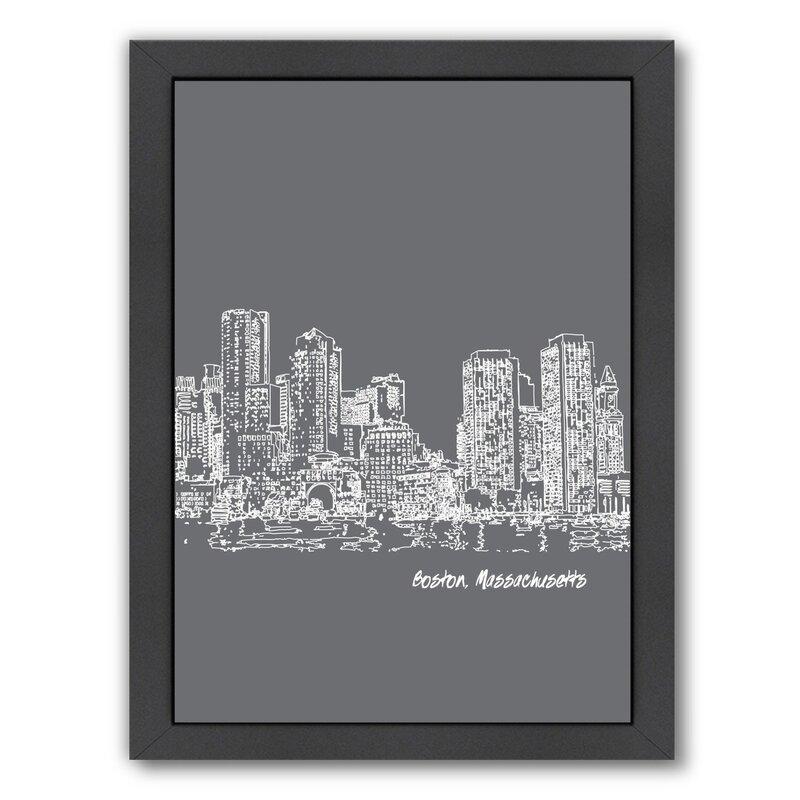 East Urban Home Skyline Boston 1 Framed Graphic Art In Gray Wayfair