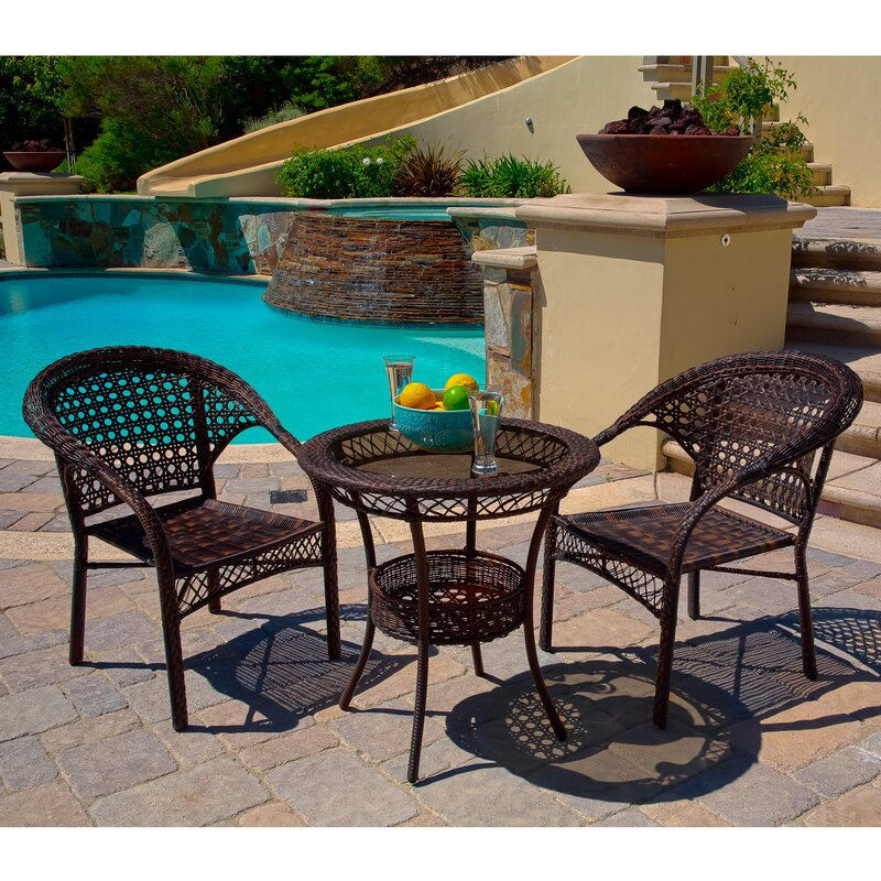 Home Loft Concepts Cristiano 3 Piece Wicker Bistro Set & Reviews ...