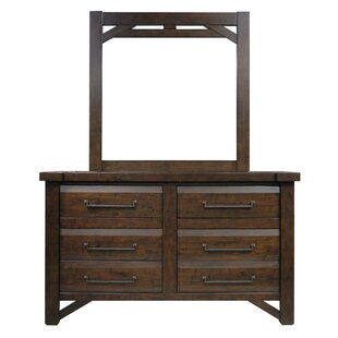 Union Rustic Bricelyn 6 Drawer Double Dresser with Mirror