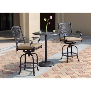 Palazzo Sasso Counter Swivel 25 Patio Bar Stool with Cushion (Set of 4) by Astoria Grand