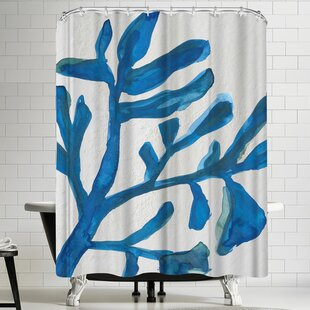 Jetty Printables Blue Watercolor Seaweed Painitng 3 Single Shower Curtain