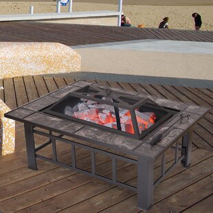 Sheet Steel Wood Burning Fire Pit Table by Adeco Trading