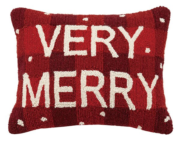 Plaid Very Merry Wool Lumbar Pillow. Holiday decor inspiration with plaid, checks, and tartans! Come be inspired by this classic pattern for Christmas decorating. #plaid #christmasdecor #holidayinspiration #checks #decorating #inspiration