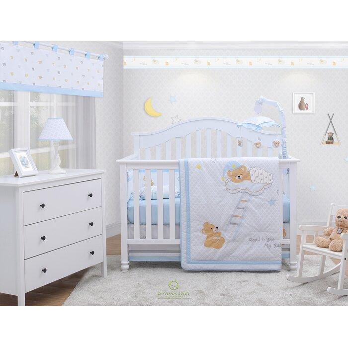 Rasmussen Moon And Star Teddy Bear Baby Nursery 6 Piece Crib Bedding Set