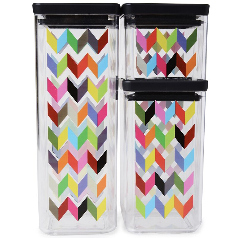 French Bull Ziggy Airtight Food Storage 3 Piece Kitchen Canister Set