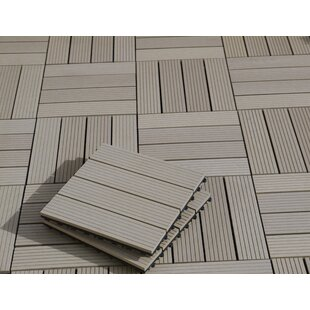 2.2cm x 30cm Bamboo and Plastic Tiles in Grey (Set of 10) by Gartenfreude GmbH