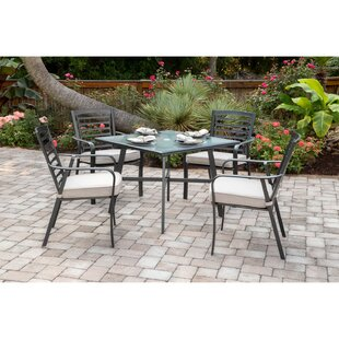 Leeson 5-Piece Commercial-Grade Patio Set with 4 Cushioned Dining Chairs and a 38 Square Glass-Top Table by Ebern Designs