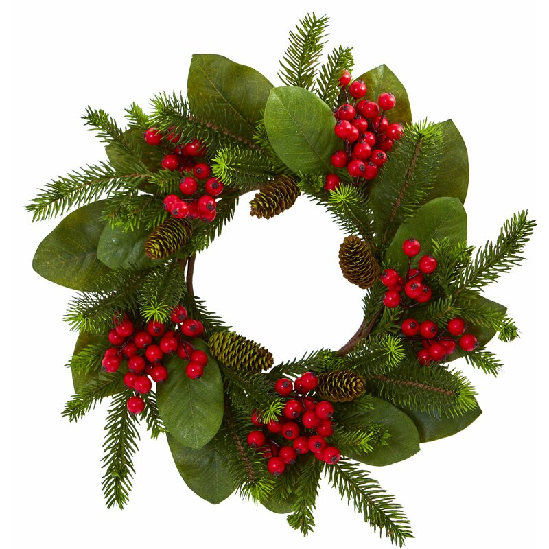 "24"" Magnolia Leaf Pine Wreath by The Holiday Aisle"