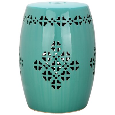 Sensational Beachcrest Home Lorelei Quatrefoil Garden Stool Finish Aqua Andrewgaddart Wooden Chair Designs For Living Room Andrewgaddartcom
