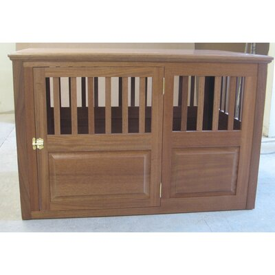 """Solid Wood Pet Crate Classic Pet Beds Size: Large (30"""" H X 29"""" W X 45"""" L), Color: Mahogany, Door Location: Side - Right Side"""
