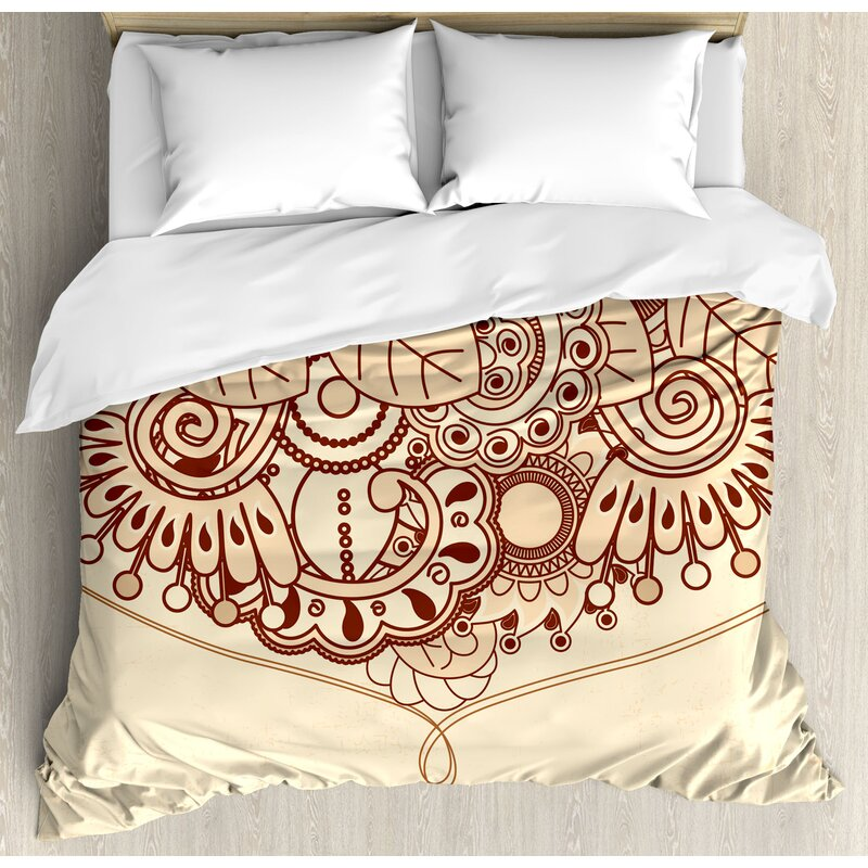 ffa4eb4daab6 Sketchy Indian Asian Ethnic Design with Floral Oriental Leaves Like Lines  Details Art Print Duvet Cover Set
