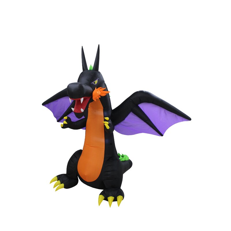 Gemmy 7 ft Inflatable Dragon w// Wings /& Faux Fire Halloween Indoor Outdoor NEW