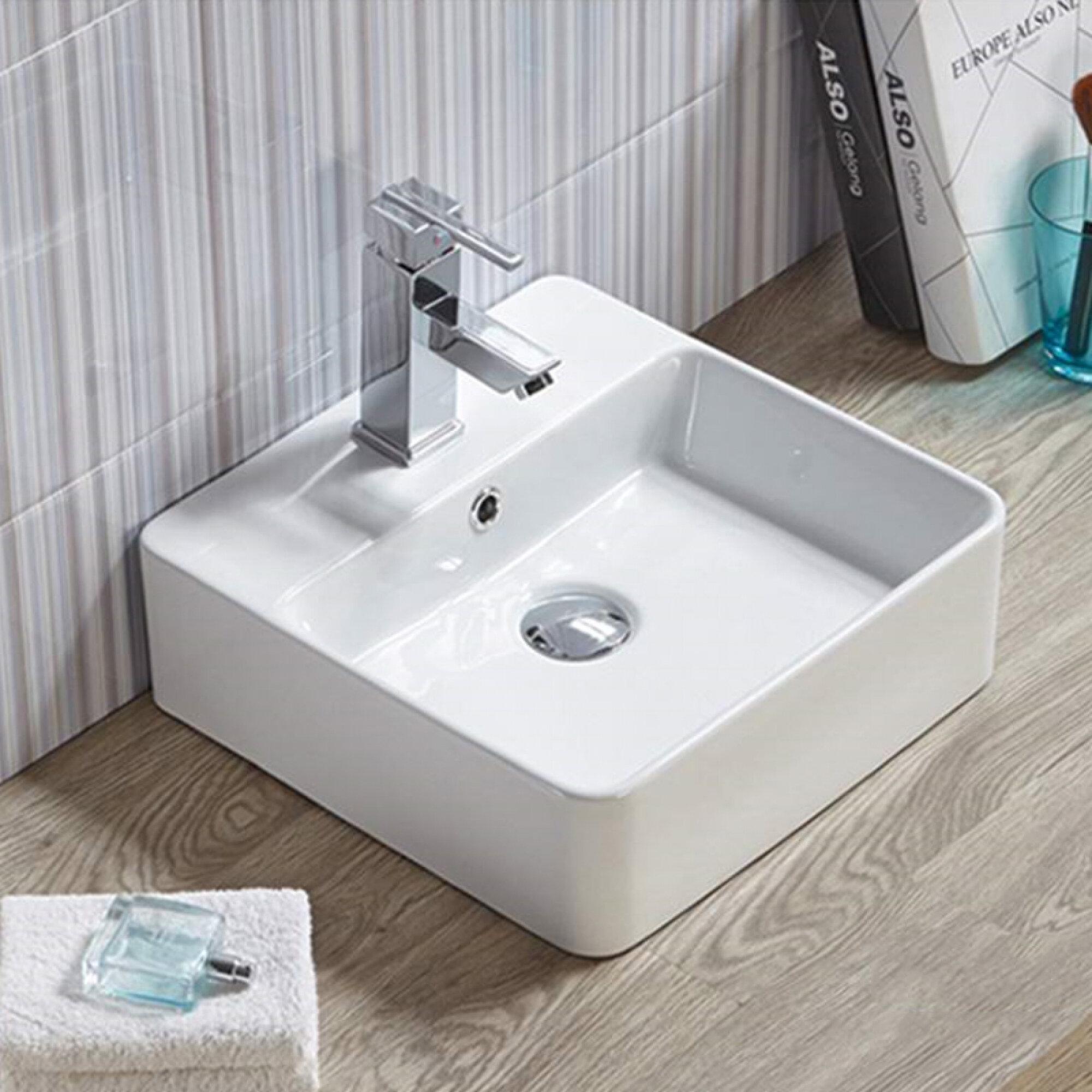 Avanities Ceramic Square Vessel Bathroom Sink With Overflow Wayfair