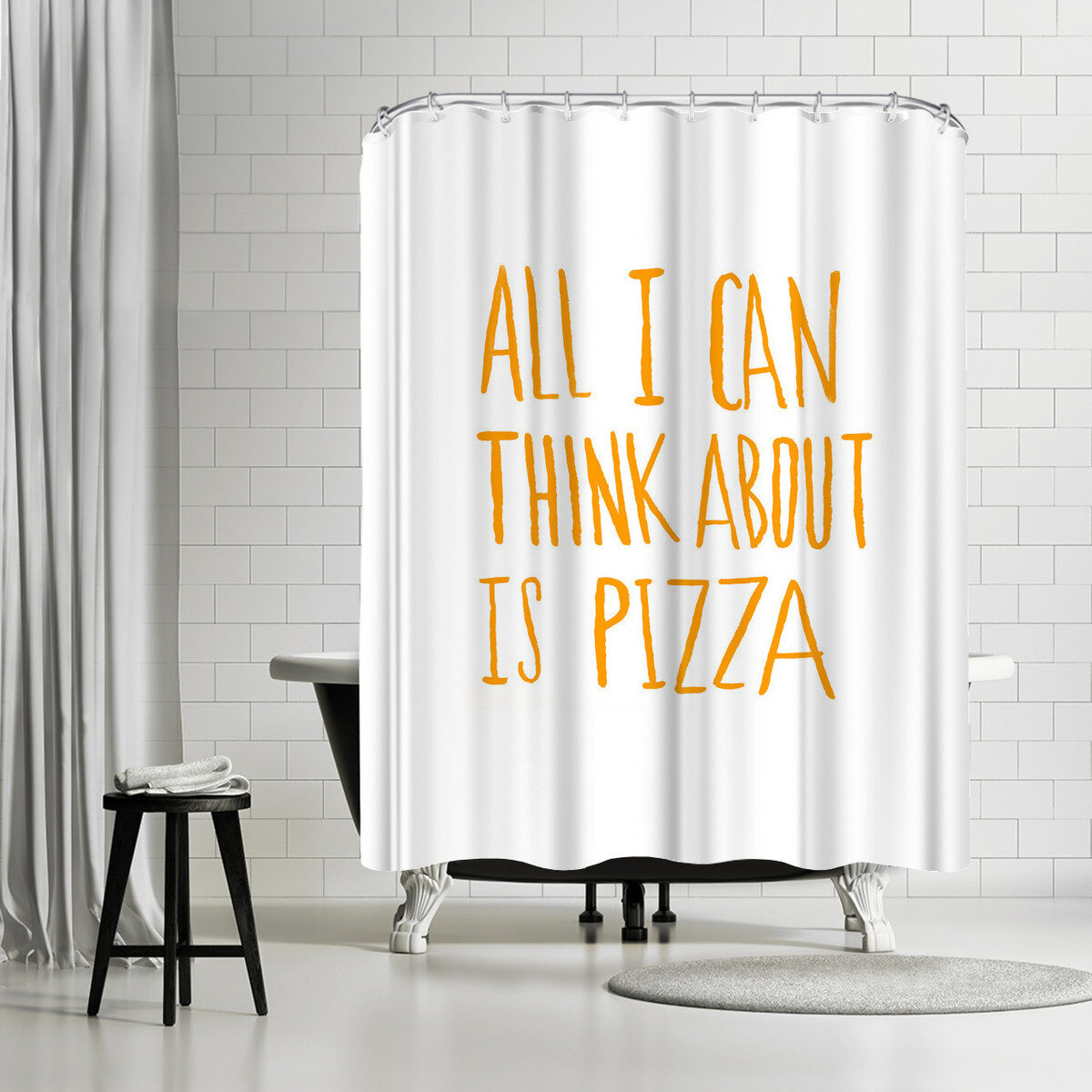 East Urban Home Leah Flores All I Can Think About Is Pizza Single Shower Curtain Wayfair