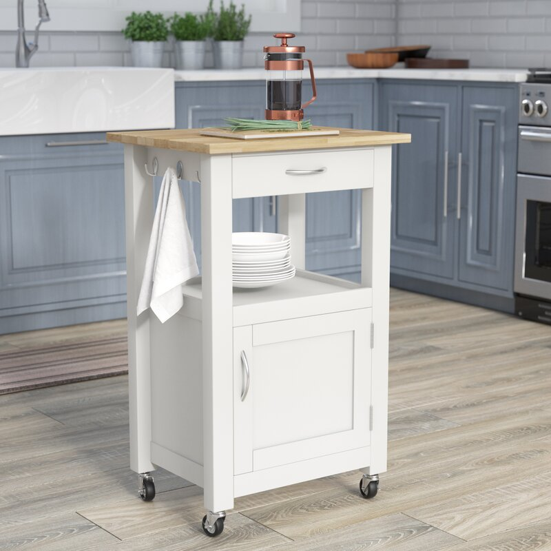 Charlton Home Turcios Kitchen Island Cart With Natural Wood Top