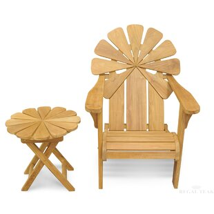 Veun Petals Adirondack Chair With Table (Set Of 2) by Bay Isle Home Today Only Sale