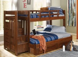 Twin Over Full Bunk Bed with Storage Chelsea Home Color: Brown
