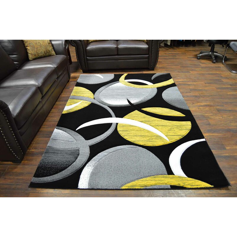 Ivy Bronx Mccampbell Abstract Yellow Black Area Rug Reviews Wayfair Ca