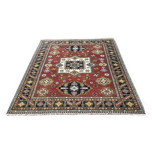 Best Reviews One-of-a-Kind Itzayana Kazak Hand-Knotted 9'2 x 12'1 Wool Red/BlackArea Rug By Isabelline