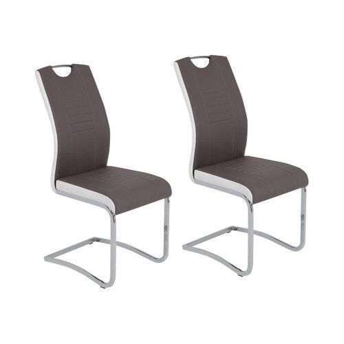 Freischwinger-Set Lowman | Küche und Esszimmer > Stühle und Hocker > Freischwinger | Schlamm/weiß | Kunstleder - Metall - Stahl | 17 Stories