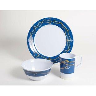 Decorated Anchorline Melamine 12 Piece Dinnerware Set Service for 4  sc 1 st  Wayfair & Nautical Dinnerware | Wayfair