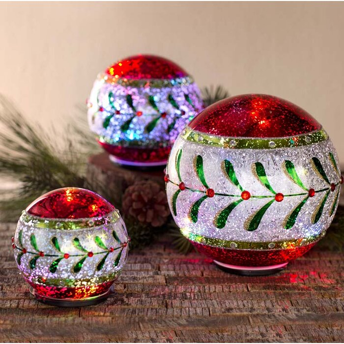 Christmas Balls.3 Piece Led Lighted Table Christmas Balls Set