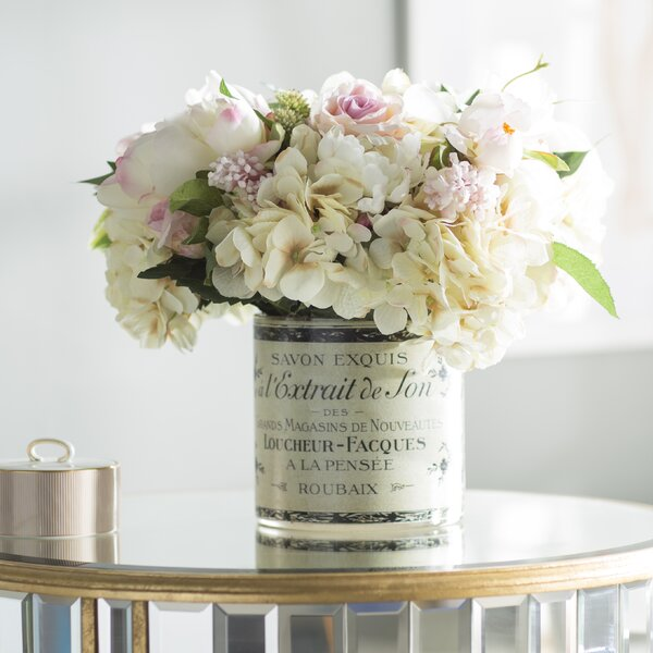 Willa Arlo Interiors Peony And Hydrangea Centerpiece In French Label Pot Reviews Wayfair