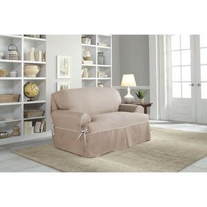 Twill T-Cushion Loveseat Slipcover by Serta