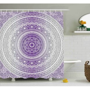 Genevieve Gray and Purple Eastern Traditional of Cosmos Pattern Zen Boho Ombre Mandala Design Print Single Shower Curtain