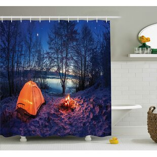 Night Camping Decor Single Shower Curtain