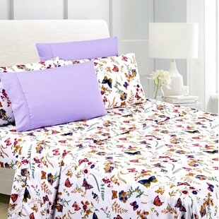 Silvio Premium Butterfly Floral Sheet Set by Latitude Run Top Reviews
