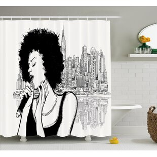 Look for Keeler American Jazz Music Girl Performing Shower Curtain ByWrought Studio
