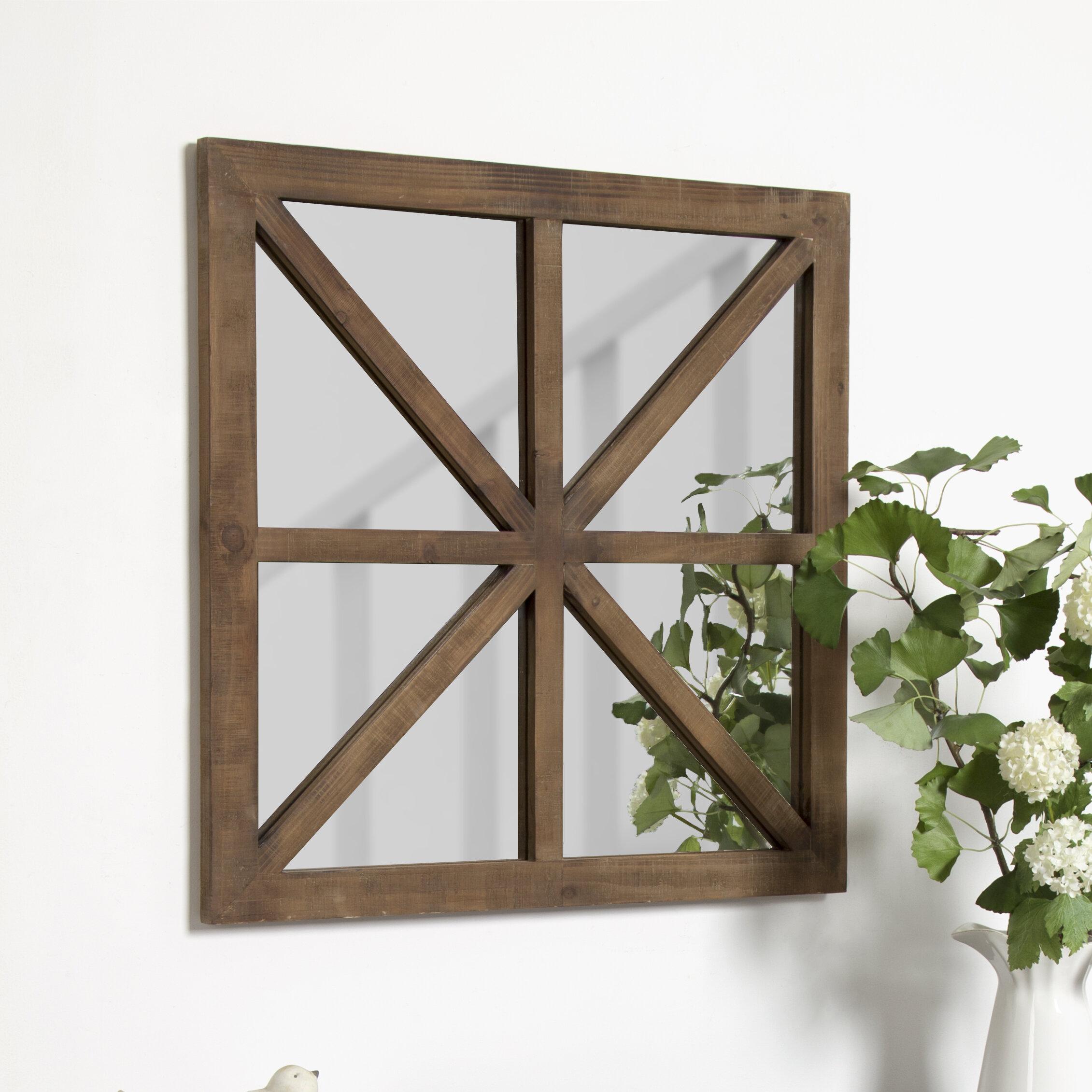 Gracie Oaks Thadine Decorative Square Windowpane Wooden Overmantel Mirror Wayfair
