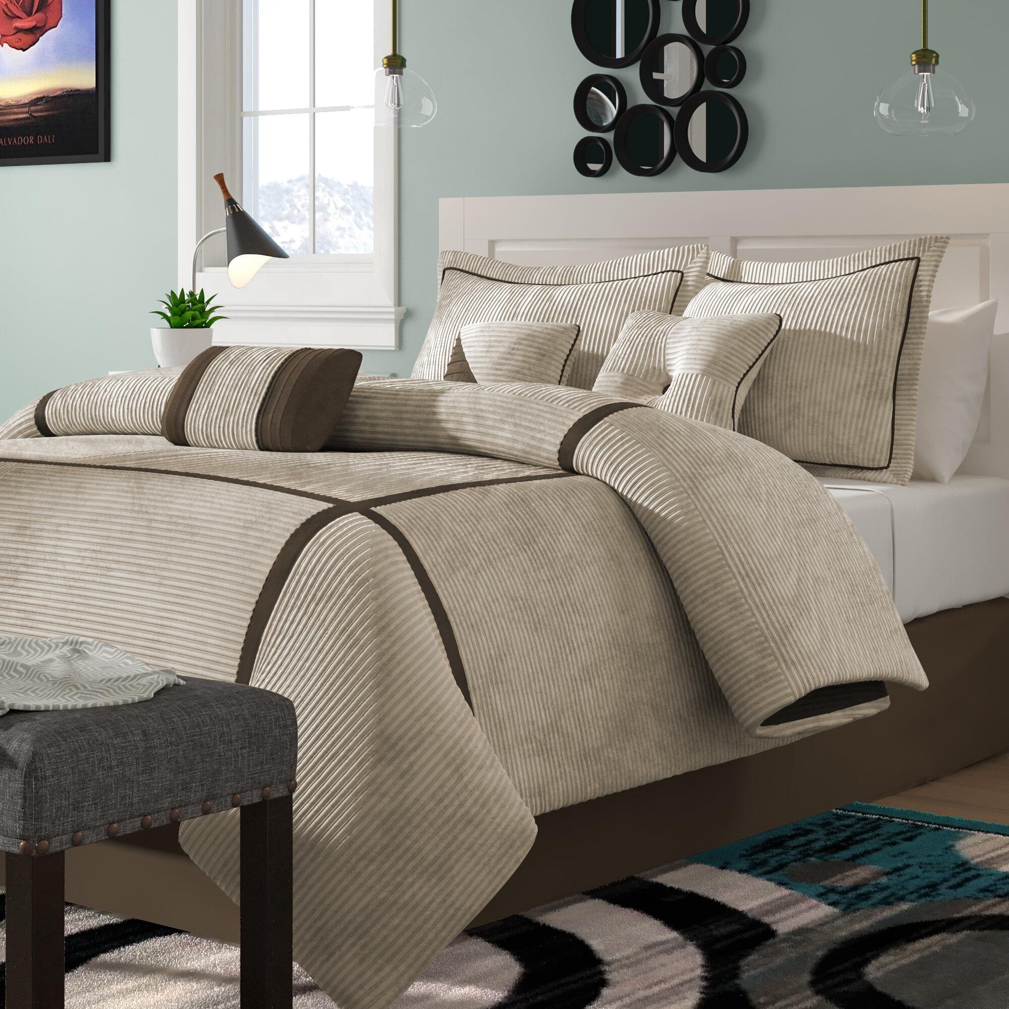 Alcott Hill Ocallaghan Light Tan Striped 7 Piece Comforter Set Reviews Wayfair
