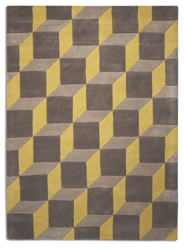 Geometric Wool Yellow Grey Rug
